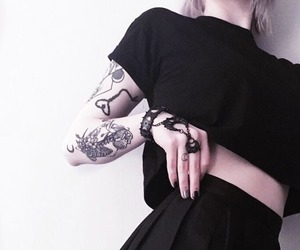 black, tattoo, and clothing image