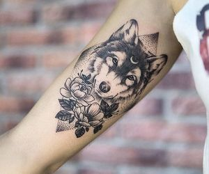 art, wolf, and tattoo image