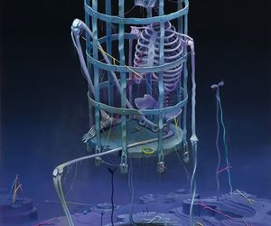 art, cage, and skeleton image