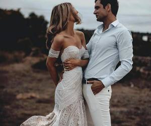 dress, wedding dress, and love image