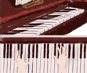drawing, piano, and wallpaper image