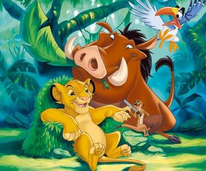 lion king, simba, and timon image