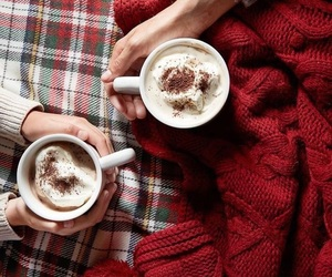 winter, hot chocolate, and blanket image