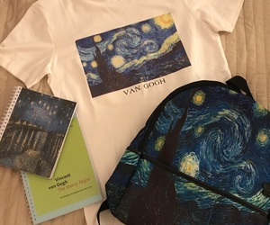 art, backpack, and blue image