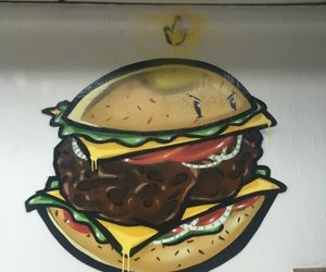 burger, burger king, and graffiti image