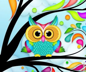 owl, backgrounds, and rainbow image