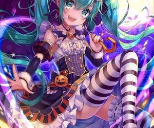 anime girl, vocaloid, and Halloween image