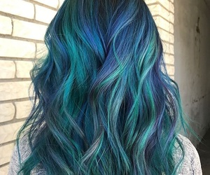 beauty, blue hair, and teal hair image