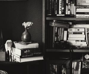 blackandwhite, books, and home image