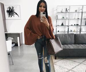 jeans, outfit, and autumn style image