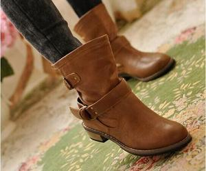ankle boots, buckle, and round toe image