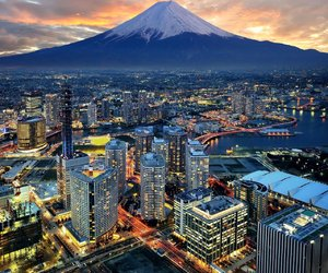 city, japan, and mountain image