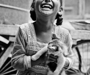 smile, black and white, and child image