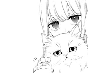 art, manga girl, and black and white image