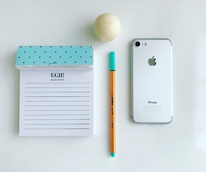 apple, desk, and iphone image