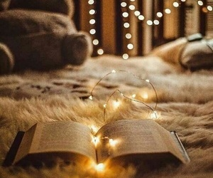 book, bed, and lights image