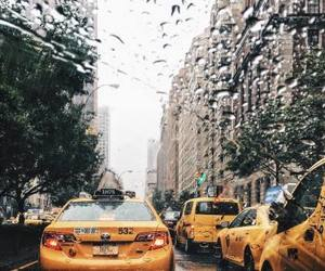 city, rain, and buildings image