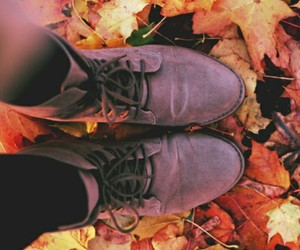 autumn, boots, and leaves image