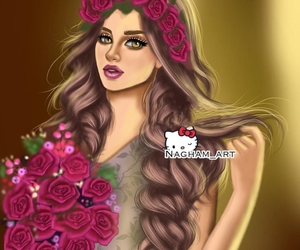 girls, pink, and رَسْم image