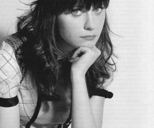 zooey deschanel, black and white, and girl image