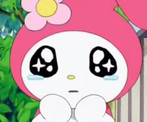 crying, my melody, and sanrio image