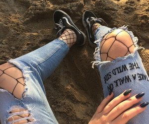 words, fishnet tights, and ripped jeans image