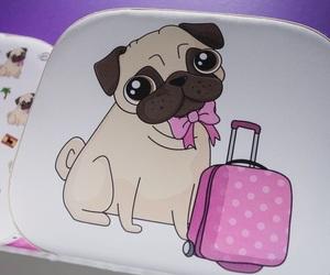 art, pug, and suitcase image