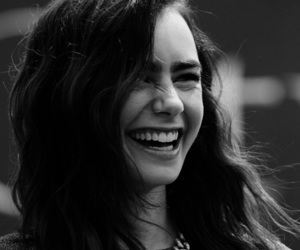 lily collins, smile, and black and white image