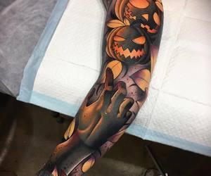 pumpkins, tattoo, and sleeve tattoo image