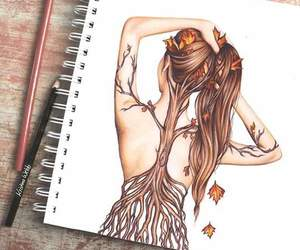 creative, drawing, and leaves image