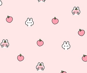 pink, bunny, and wallpaper image