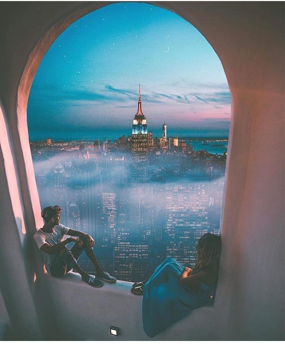 city, travel, and couple image