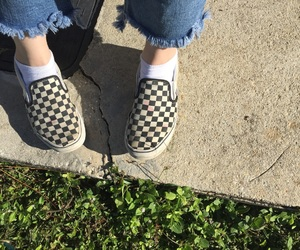 aesthetic, checkered vans, and checker image