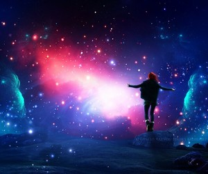 colors, galaxy, and girl image
