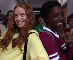 stranger things, sadie sink, and caleb mclaughlin image