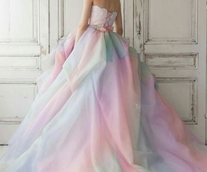 dress, wedding, and rainbow image