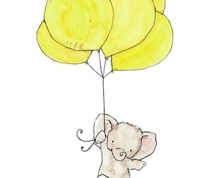 elephant, yellow, and cute image