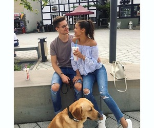 couple, dog, and family image