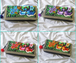 embroidered, purse, and wallet image