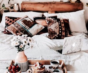 bed, bedroom, and food image