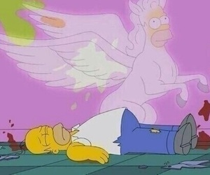 unicorn, simpsons, and homer image