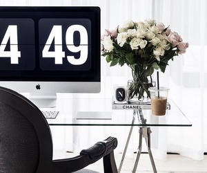 decor, flowers, and office image