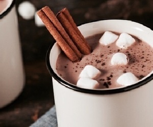 marshmallow, hot chocolate, and drink image