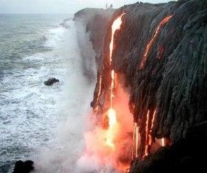 lava, sea, and volcano image