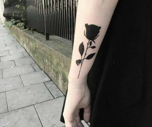 tattoo, black, and rose image