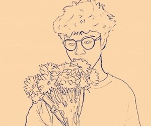 flowers, boy, and art image