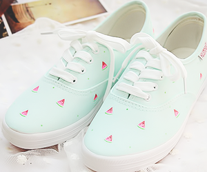 shoes, fashion, and watermelon image