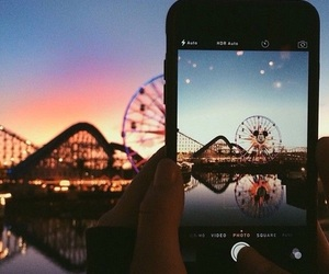 fun, funfair, and sunset image