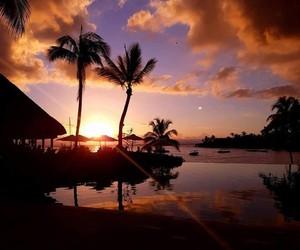 hotel, paradise island, and sunset image