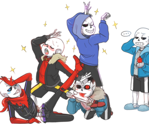 sans, underfell, and swapfell image